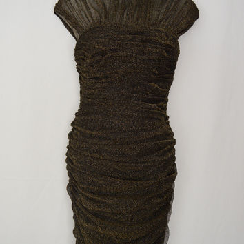 Black Body Con Dress Gold Overlay Ruched   Cocktail (Tadashi Shoji)