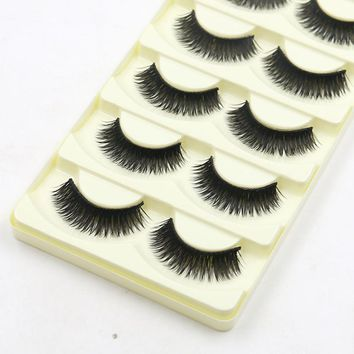 5 Pairs Multi Layers Long Thick Cotton Infarction Makeup Natual False Eyelashes Black