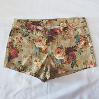 Brown Floral Shorts