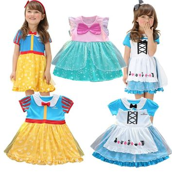 Baby infant cotton dress Summer Short Alice in Wonderland Girls Dresses mermaid Birthday Party Cosplay christmas costumes