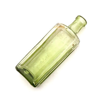 Small Olive Green Apothecary Bottle, Antique Bottle, Apothecary Jar, Yellow Glass Medicine Bottle, Green Glass Bottle, Chemist Bottle