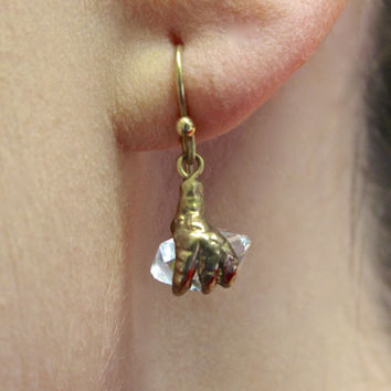 Herkimer Diamond Earrings, 10k Yellow Gold Handmade, Rustic Glam Raw Crystal Victorian Style Claw, Bohemian Gypsy Tribal Earrings Jewelry