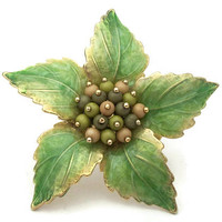 Liz Claiborne Enamel Green Leaves Floral Brooch - Gold Tone and Shiny Enamel Flower Buds & Leaf Pin - Vintage Signed Designer Jewelry