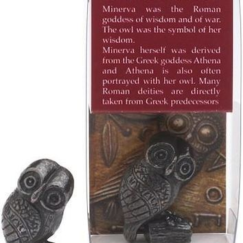 Miniature Bronze Owl of Minerva Athena Greek Roman Pagan Collectible 1H