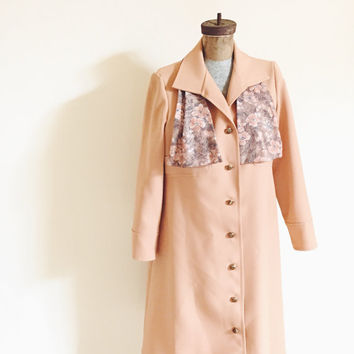 Vintage, Mid Century, Beige, Basic, All Weather, Polyester, Handmade  Rain Coat, Women's M/L