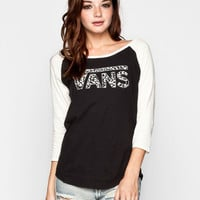 Vans Washed Leopard Womens Baseball Tee Black  In Sizes