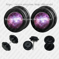Galaxy   ear plugs,fake Gauges,UV Acrylic ear plugs,