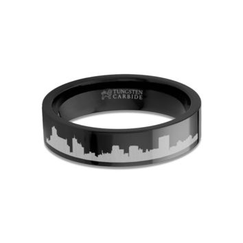 Memphis City Skyline Cityscape Engraved Black Tungsten Ring