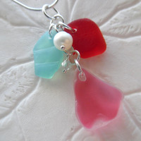 Red Sea Glass Necklace - Rare Turquoise and Pink Beach Seaglass Jewelry Pendant