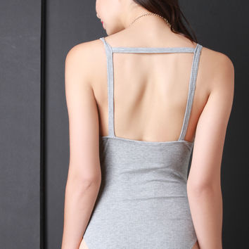 Ribbed Knit Square Back Sleevess Bodysuit