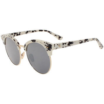 White Spot Print Mirror Lens Cat Eye Sunglasses