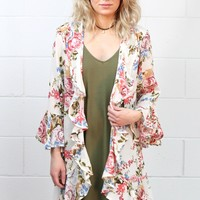 Softly Kissed Floral + Ruffles Kimono {Ivory} EXTENDED SIZES