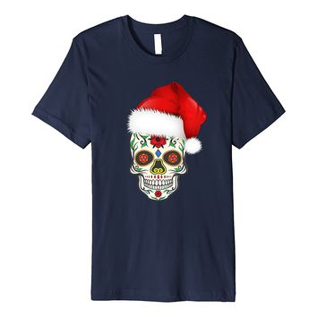 Sugar Skull T-Shirt With Christmas Santa Hat Day of the Dead