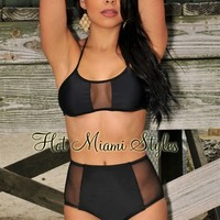 Black High-Waist Mesh Accent Bikini