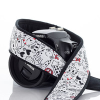 Doodles dSLR Camera Strap, Kid print, Scribbles, Art, Camera Neck Strap, Nikon Canon Strap, Quick Release, Pocket, SLR, 97 a