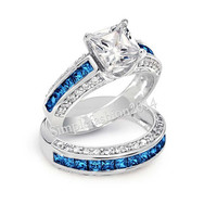 Victoria Wieck Real Blue sapphire simulated Diamond 10KT White Gold Filled 2-in-1 Women Wedding Ring Set Engagement Band Sz 5-11