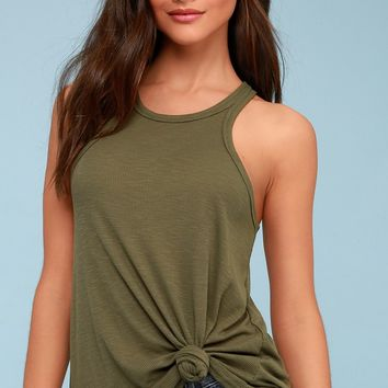 Long Beach Army Green Tank Top