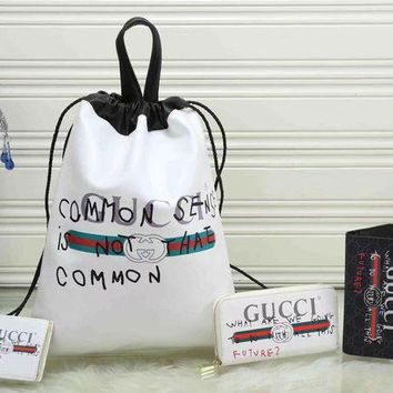 ESBUP0 GUCCI Fashion Daypack Backpack Purse Wallet Clutch Bag Four Piece Suit-2
