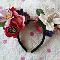 Floral headband, mouse ear floral headband, lolita crown, lolita flower headband, kawaii mouse ears, floral mouse ears, mickey flower