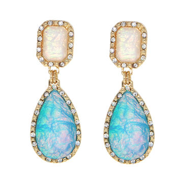 Dear Deer Irisdecent Opalite Fluorescent Designer Vintage Classic White and Blue Drop Earrings