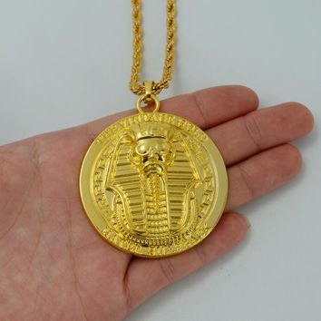 Anniyo Pharaoh of Egypt Necklaces Gold Color Egyptian Pendant Chain Ancient Egypt Jewelry Africa Hip Hop Gift #023206B