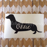 Dachshund Vinyl Decal - Personalized Dog Silhouette Decal