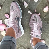 Nike Free Fly knit Women Men Trending Fashion Rainbow Casual Running Sport Shoes Sneakers Pink G