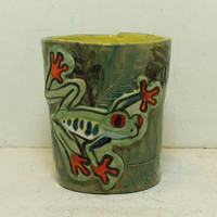 Tree frog stoneware cup hand built and carved Drinkware #2