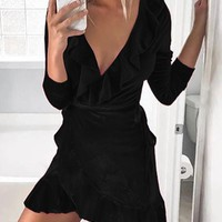 Black Ruffle Sashes Lace-up V-neck Long Sleeve Fashion Mini Dress