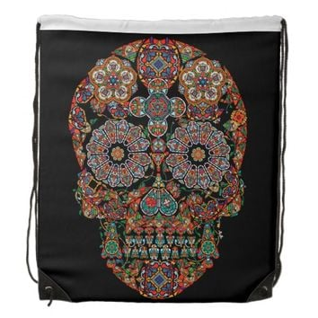 Flower Sugar Skull Drawstring Backpack