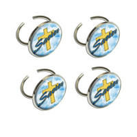 Savior Cross and Clouds Religious Inspiration Napkin Ring Set
