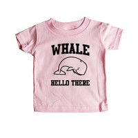 Whale Hello There Whales Ocean Animal Animals Greeting Mammals Mammal Pun Puns Play On Words Funny SGAL2 Baby Onesuit / Tee