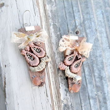 Nude leather earrings textile earrings jewelry pastel pink victorian vintage inspired, romantic sand beads embroidery fairy earrings ballet