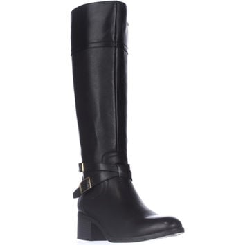 Franco Sarto Lapis Knee High Ankle Strap Boots - Black Leather