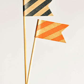 Drink Flags - Black & Orange Striped (Set of 12) Halloween Cocktail Swizzle Sticks Stirrers Toppers Cute Fun Wedding Birthday Party Shower