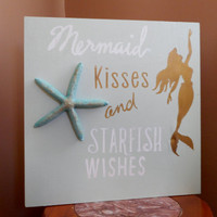 Mermaid Kisses Distressed Painted wood sign, Nautical Wall Decor, Nursery Wood Sign, Wood Sign, Mint Gold & White, Mermaid wall art
