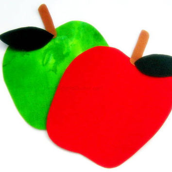 Green and Red Apple Iron On Appliques - No Sew - Great for Onesuit - Patch - Transfer