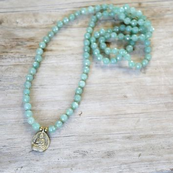 Aventurine Hand Knotted Mala Necklace with Buddha Pendant