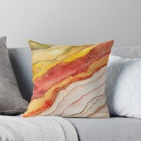 'AGATE Inspired Watercolor Abstract 03' Cojín by Viviana Gonzalez