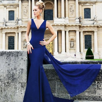 Blue Sleeveless V-Neck Fishtail Long Dress