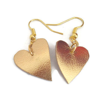 Valentine's day, Golden hearts, leather earrings, gift under 10 dollars, trending items, girly earrings, christmas gift for sister