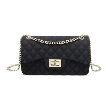 Women Shoulder Bag Jelly Clutch Handbag Quilted Crossbody Bag with Chain