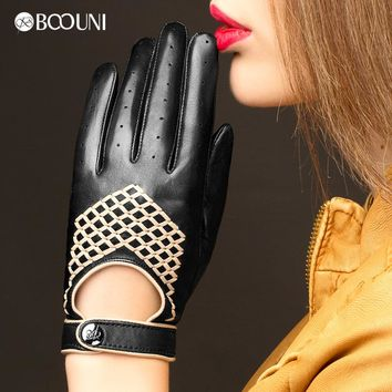 BOOUNI Genuine Leather Gloves High Quality Women Fashion Black Sheepskin Finger Gloves Woven Pattern Driving Glove NW789