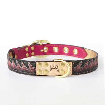 Hot Pink Dog Collar with Black Leather + Bright Pink Stitching