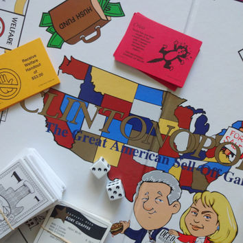 Vintage Clintonopoly ~ Clinton Version of Monopoly ~ Political Board Game 1995