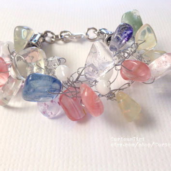 Soft pastels tones glass beads Crochet wire bracelet , wearable art wire and glass bracelet