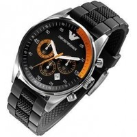 Armani Sport Collection Silicone Strap Black Dial Men's watch #AR5878