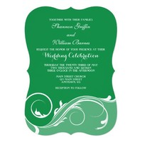 Green Floral Swirl Bracket Wedding Invites