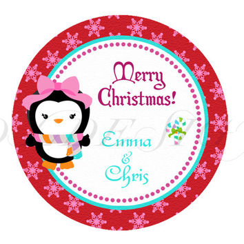 Christmas stickers, tags, pink pinguins. Christmas Cupcake Topper, Tags, Digital file