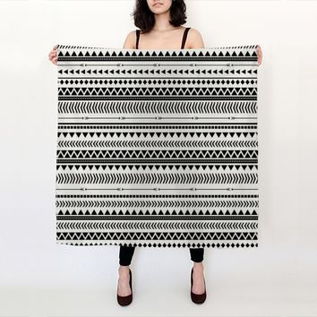 Black and White Aztec Pattern by Allyson Johnson (Big Square Scarf (36